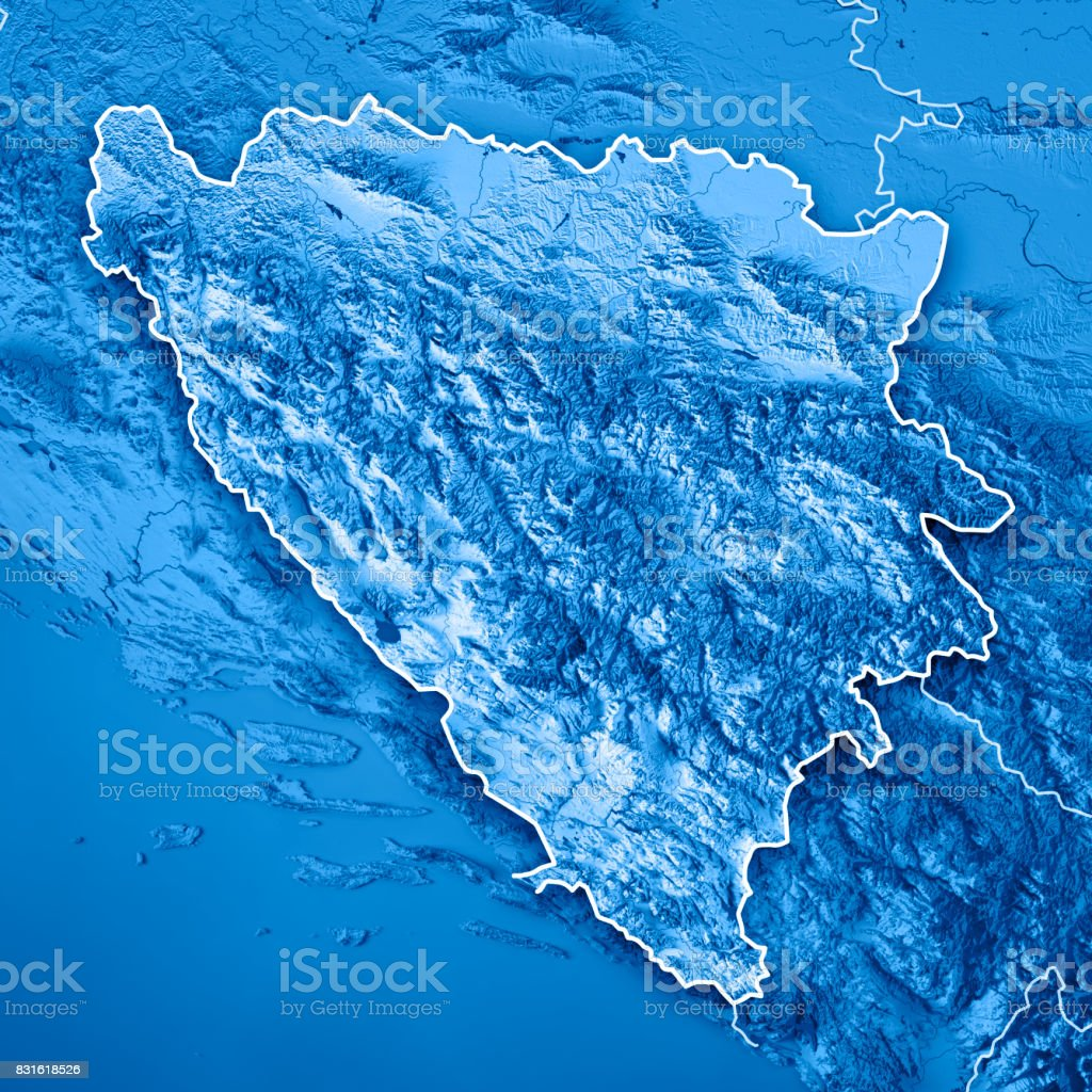 Bosnia And Herzegovina Country 3D Render Topographic Map Blue Border stock photo
