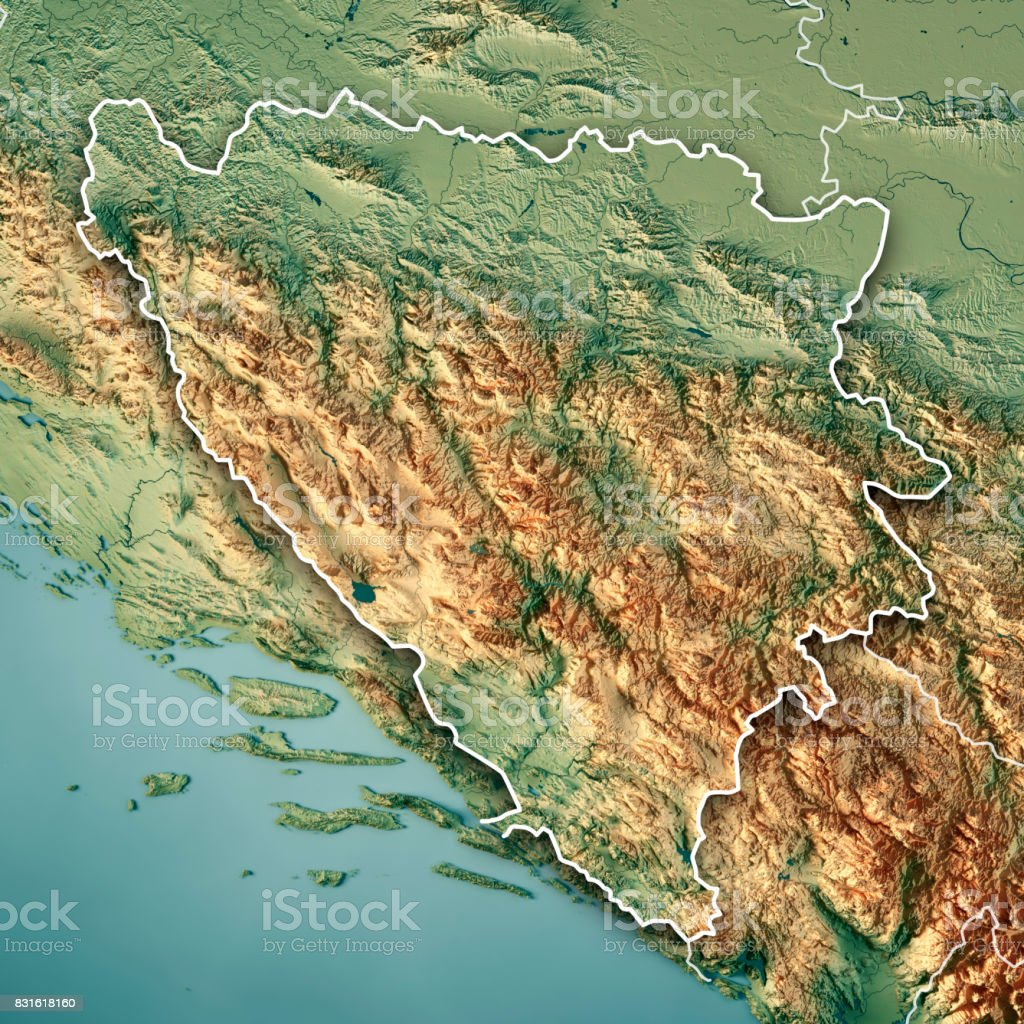 Bosnia And Herzegovina Country 3D Render Topographic Map Border stock photo