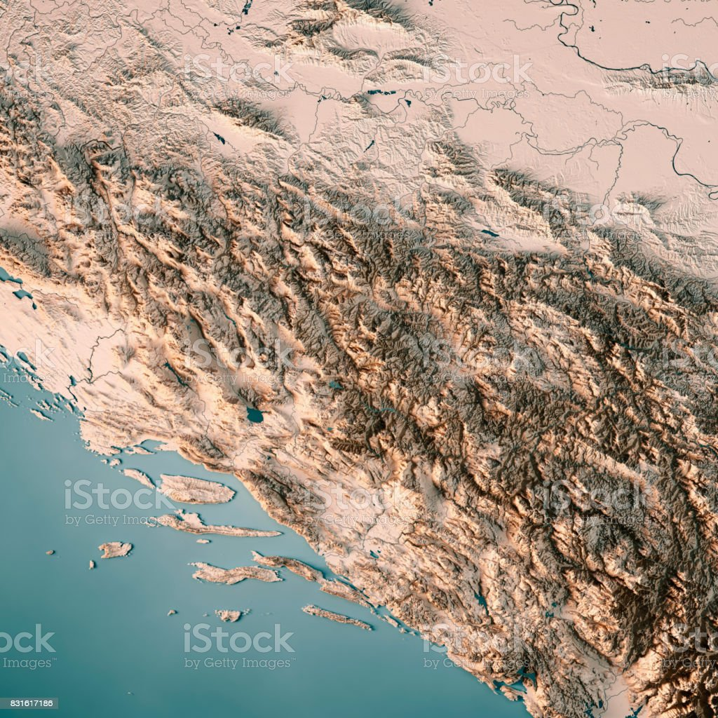 Bosnia And Herzegovina Country 3D Render Topographic Map Neutral stock photo