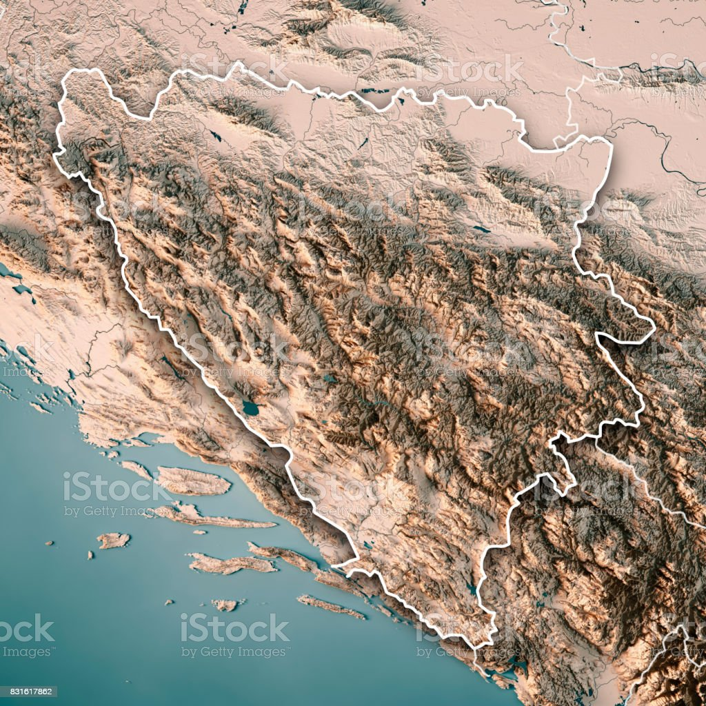 Bosnia And Herzegovina Country 3D Render Topographic Map Neutral Border stock photo