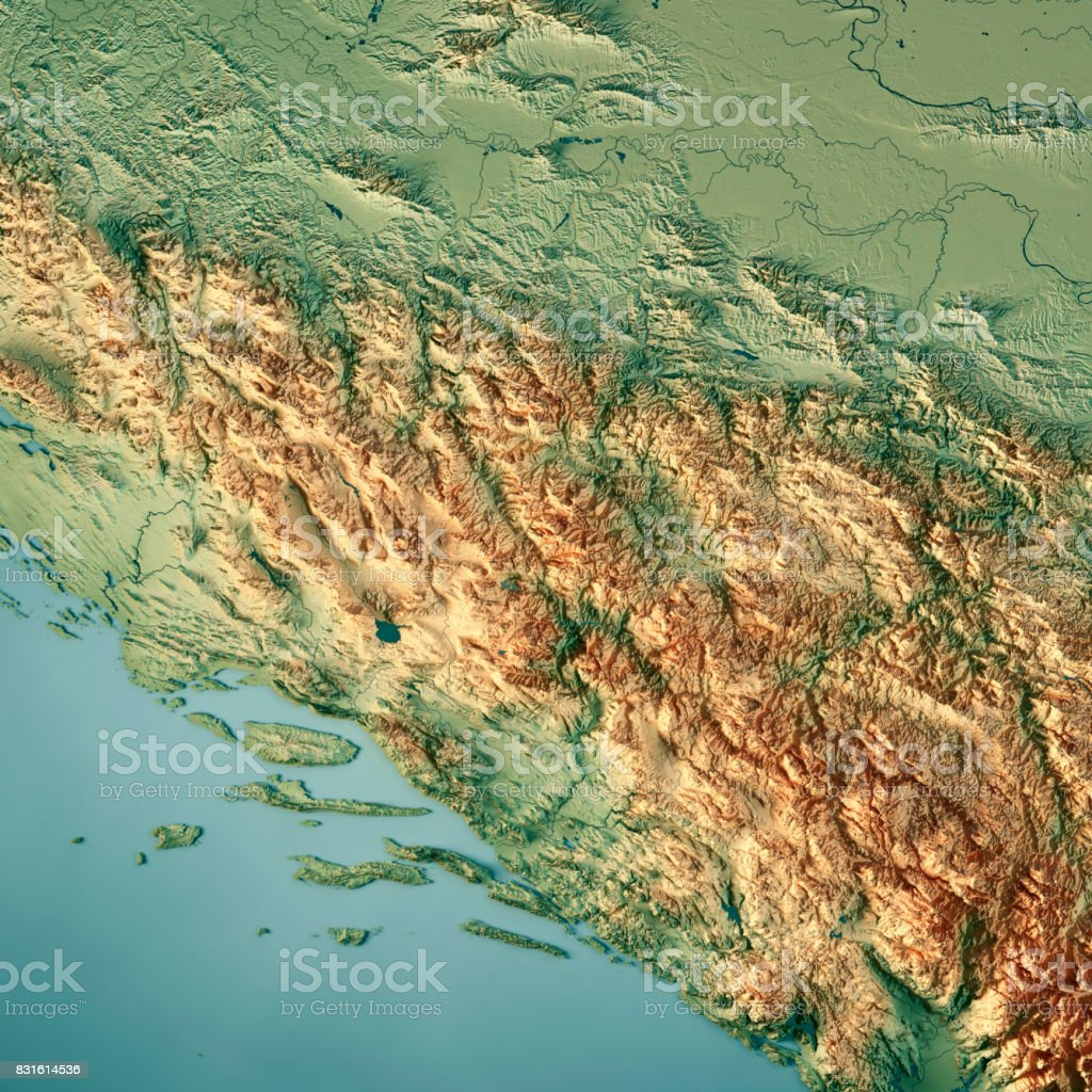 Bosnia And Herzegovina Country 3D Render Topographic Map stock photo