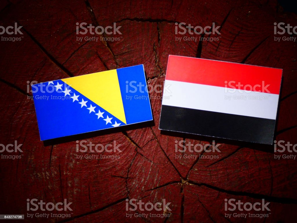 Bosnia and Herzegovina flag with Yemeni flag on a tree stump isolated stock photo