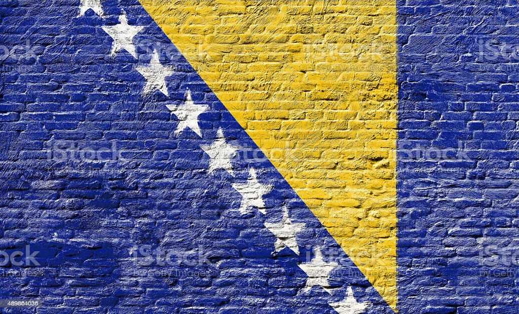 Bosnia and Herzegovina - National flag on Brick wall stock photo