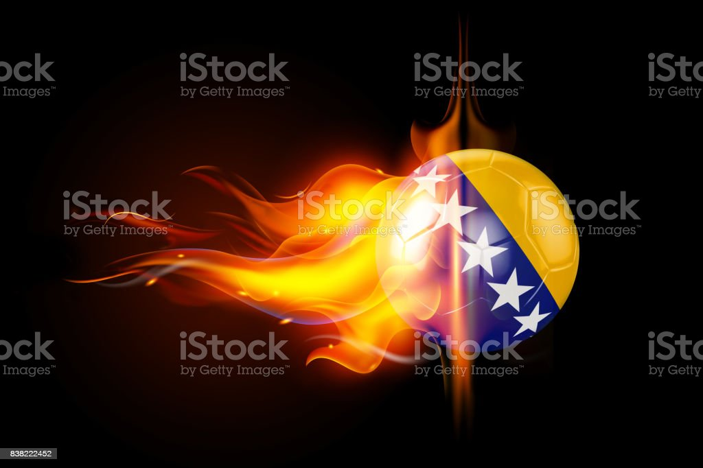 Bosnia and Herzegovina Soccer Ball is Burning in Flames on Black stock photo