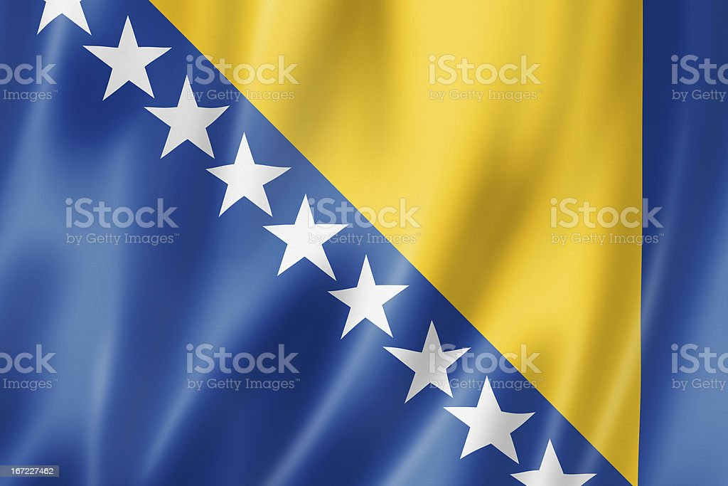 Bosnia and Herzegovinan flag stock photo