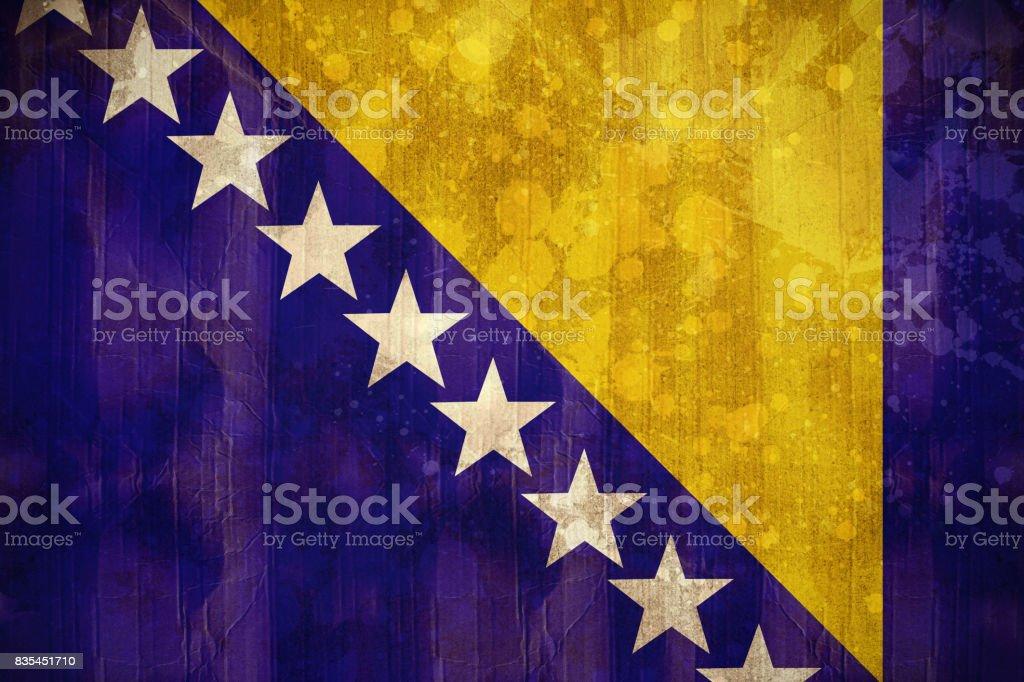 Bosnia flag in grunge effect stock photo