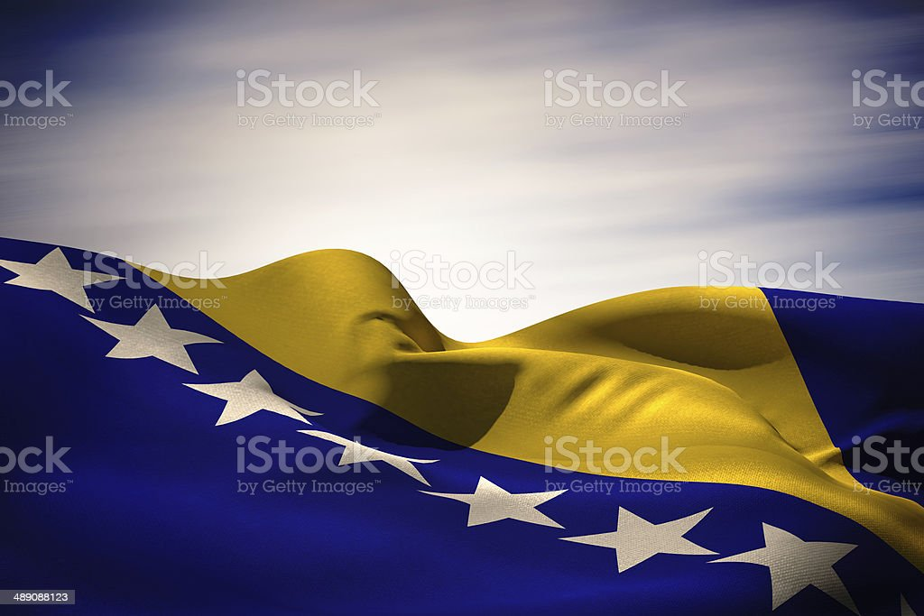 Bosnia flag waving stock photo