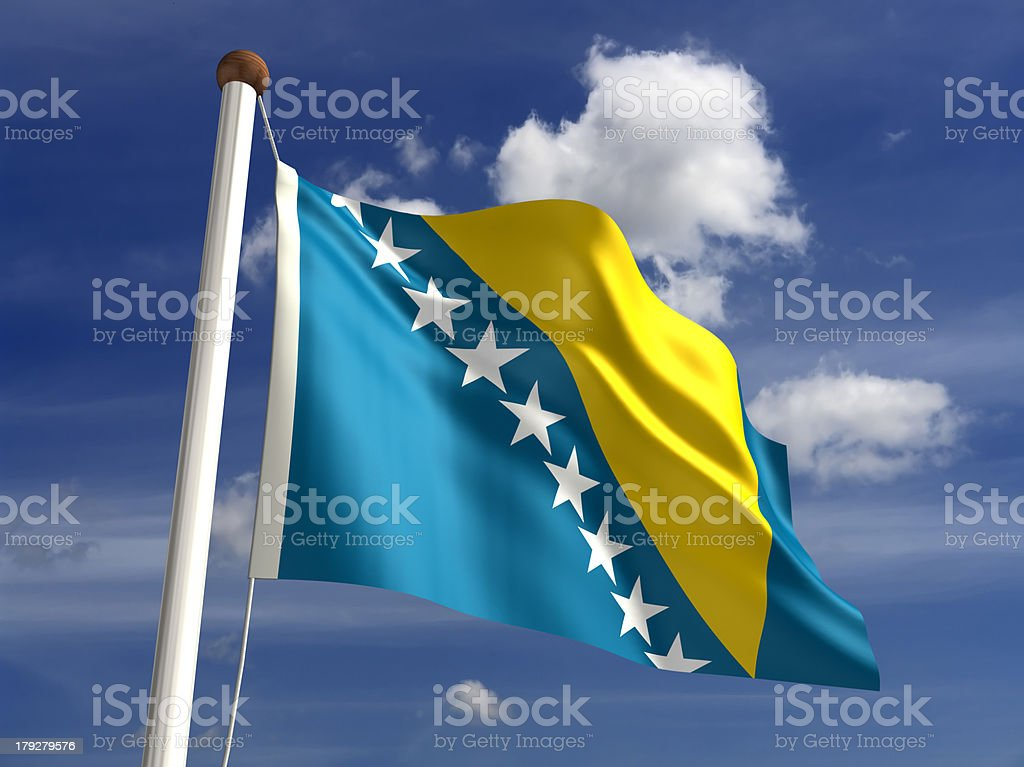 Bosnia Herzegovina flag (with clipping path) stock photo