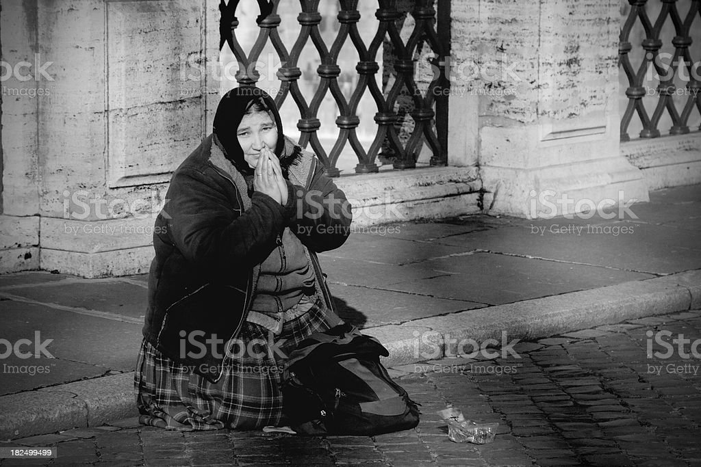 Bosnian refugee begging in Italy royalty-free stock photo