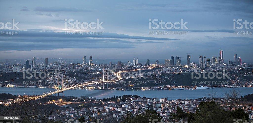 Bosphorus and bridge at night, Istanbul royalty-free stock photo
