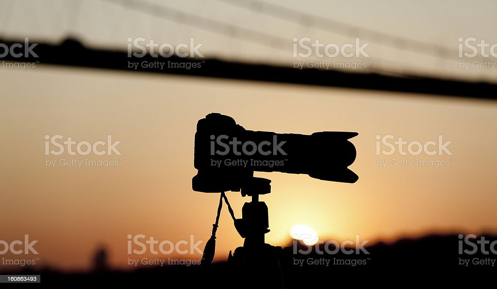 Bosphorus Bridge and Camera, Sunset royalty-free stock photo