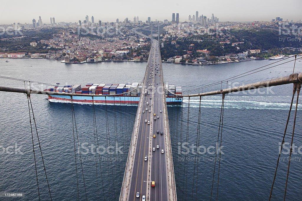 Bosphorus Bridge and Container Ship stock photo