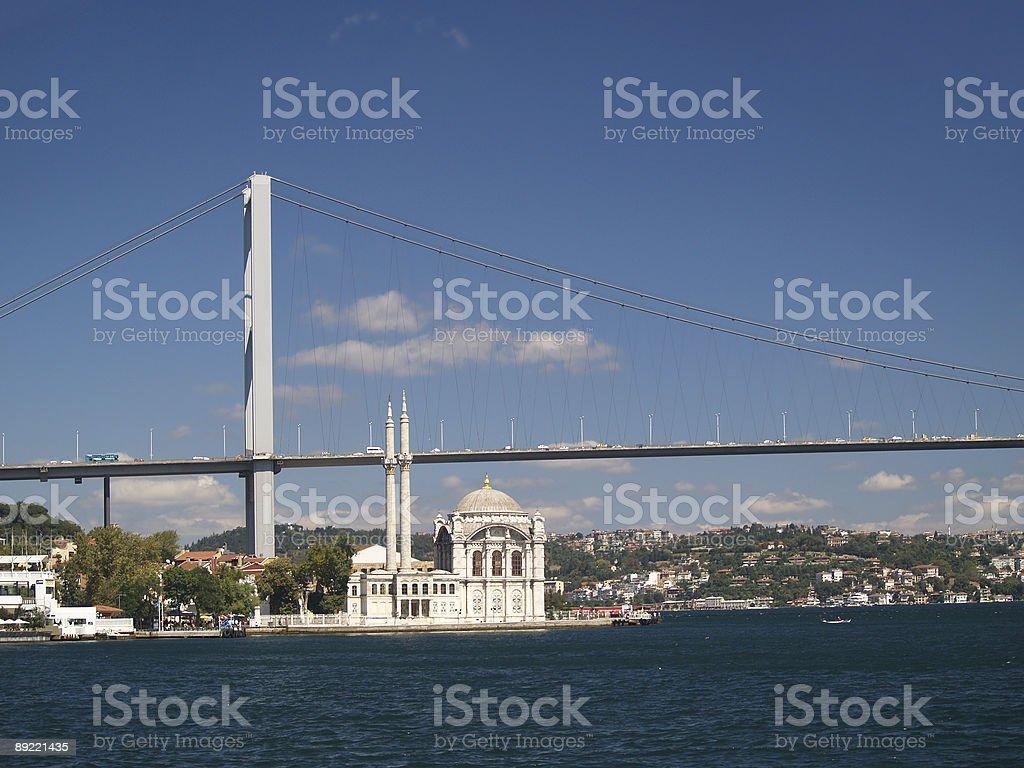 Bosphorus bridge and mosque at Istanbul, Turkey royalty-free stock photo