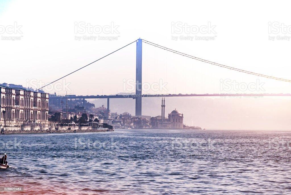 Bosphorus Bridge And Mosque stock photo