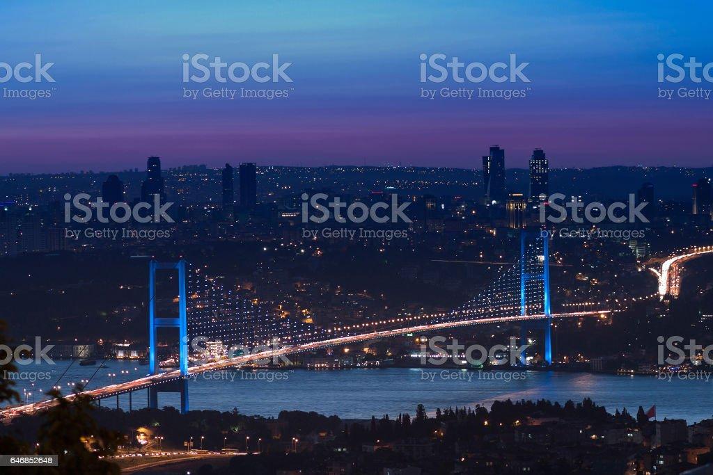 Bosphorus Bridge at night - Istanbul stock photo