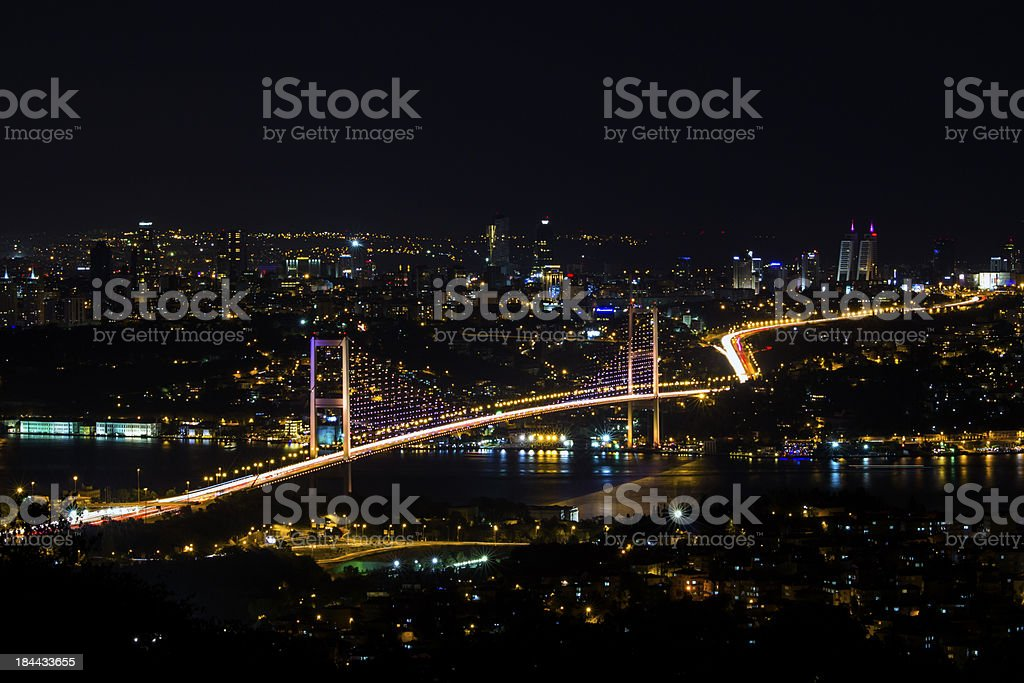 Bosphorus Bridge at Night royalty-free stock photo