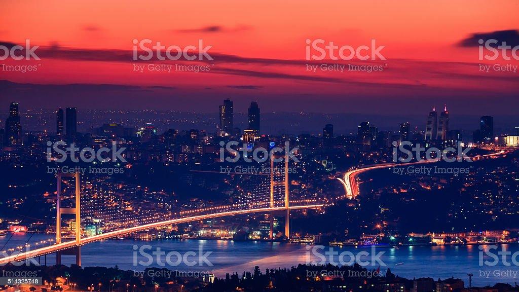 Bosphorus Bridge during the sunset, Istanbul stock photo