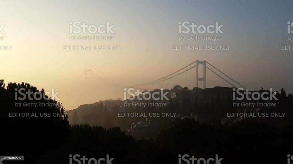 Bosphorus Bridge in Foggy Morning stock photo