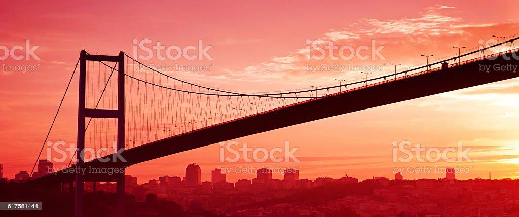 Bosphorus Bridge in Istanbul at sunset. Panorama stock photo