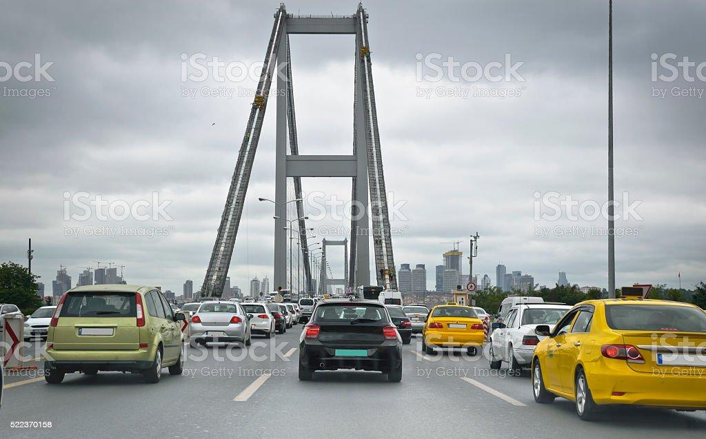 Bosphorus Bridge Traffic at Rush Hour stock photo