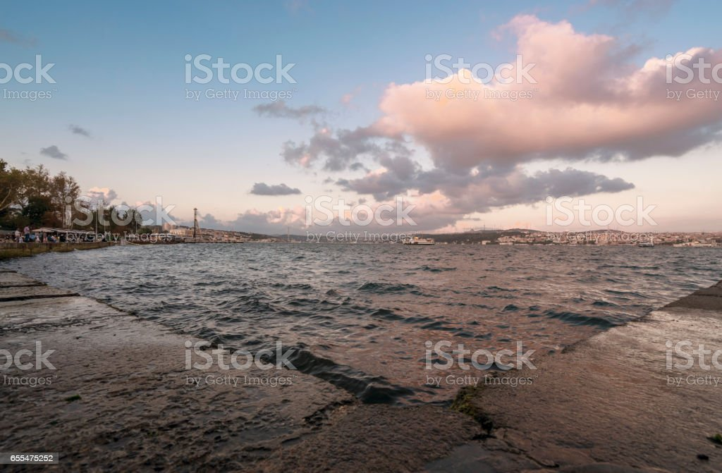 bosphorus view in blu sky with clouds stock photo