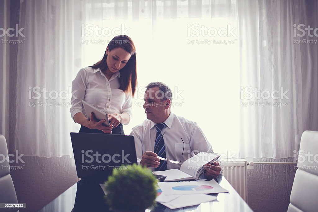 Boss and his secretary stock photo