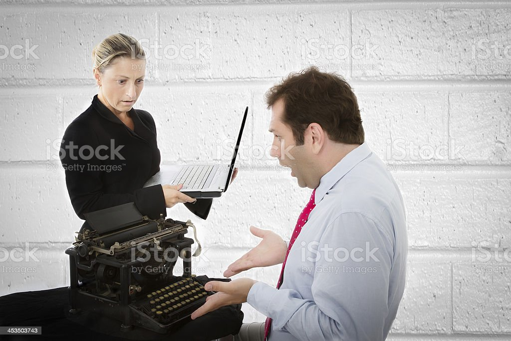 boss and secretary digital divide royalty-free stock photo