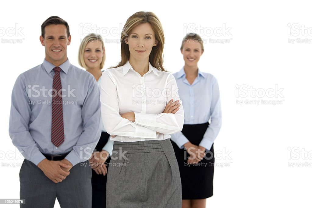 Boss followed by her crew stock photo