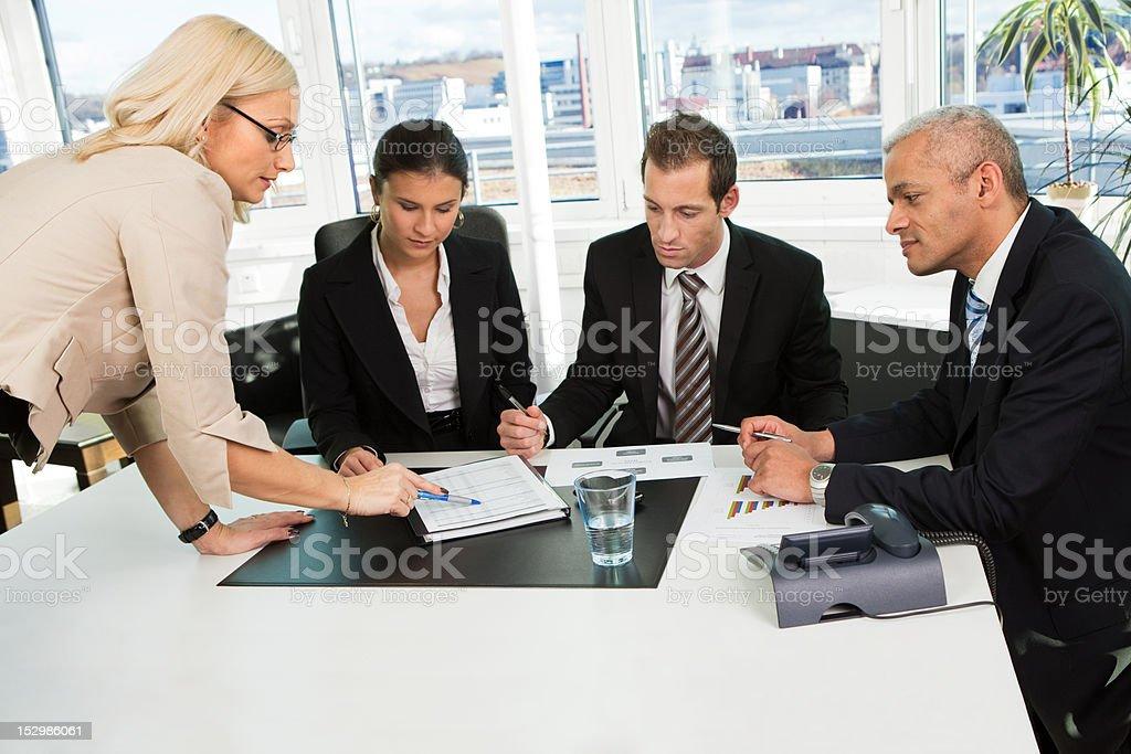 Boss insctructing business team royalty-free stock photo