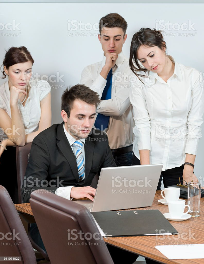 Boss pointing out the facts stock photo