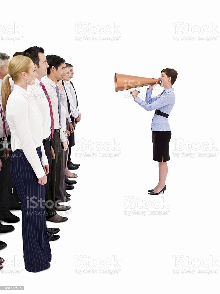 Boss Speaking to Employees Through a Megaphone - Isolated royalty-free stock photo