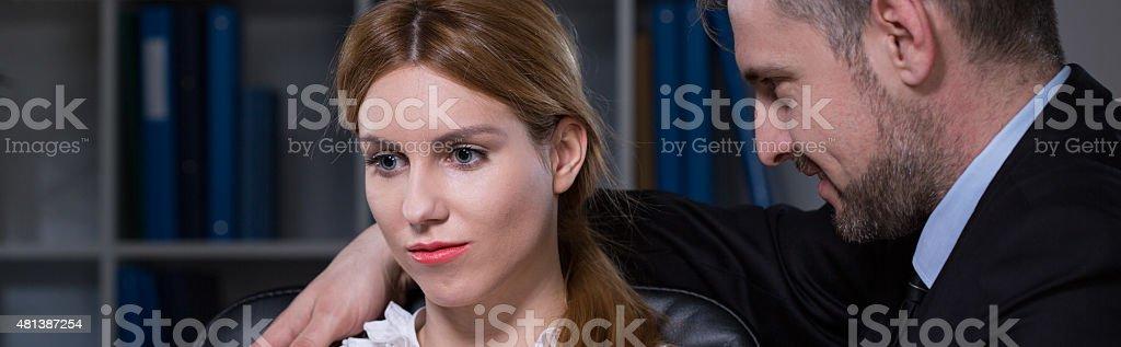Boss touching his beauty secretary stock photo