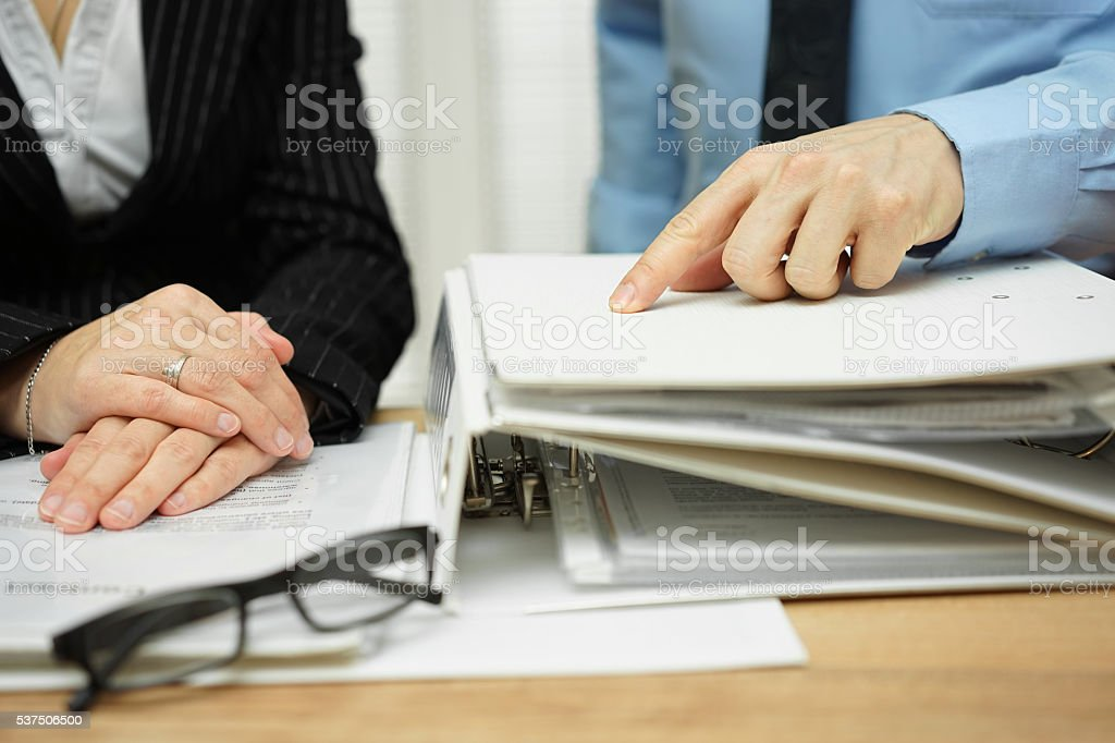 boss wants from employee more work to be done stock photo