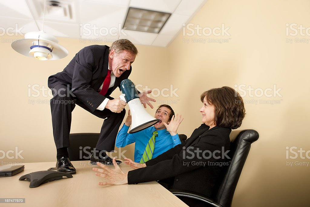 Boss Yelling at Coworkers royalty-free stock photo