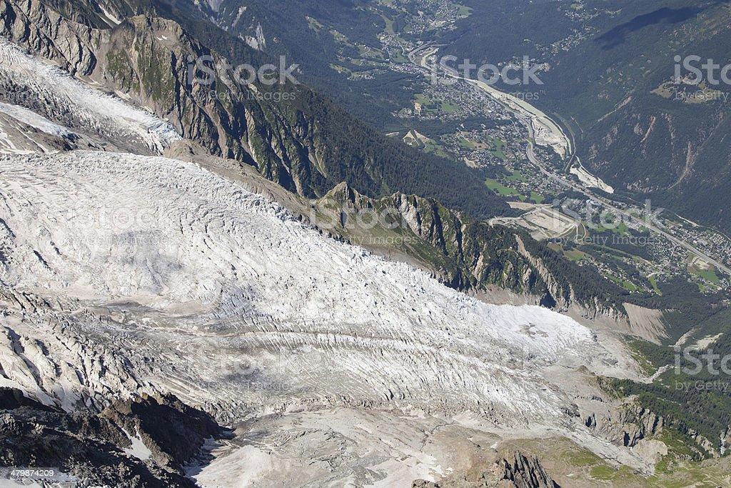 Bossons Glacier from the Aiguille du Midi stock photo