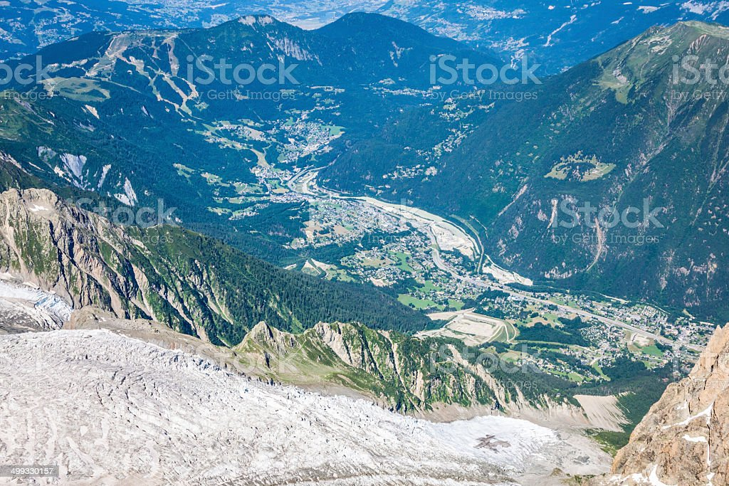 Bossons Glacier from the summit of the Aiguille du Midi stock photo