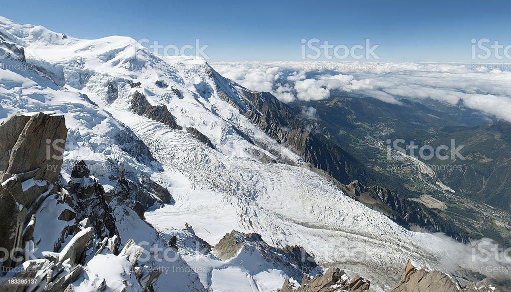 Bossons Glacier on Mont Blanc Above Chamonix stock photo