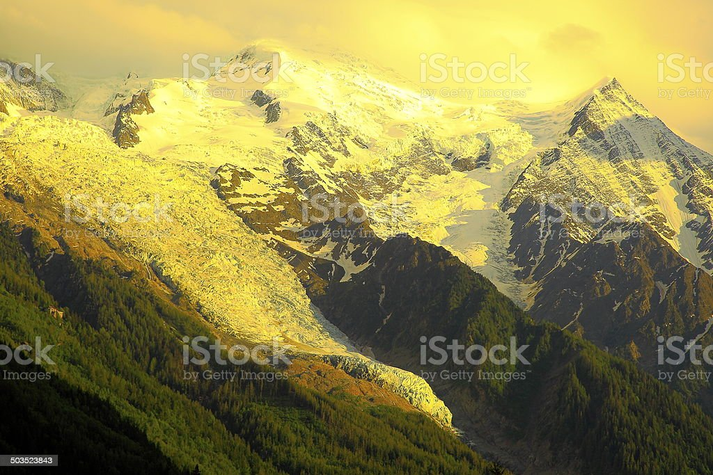 Bossons Glacier sunset, above Chamonix Mont Blanc, French Alps stock photo