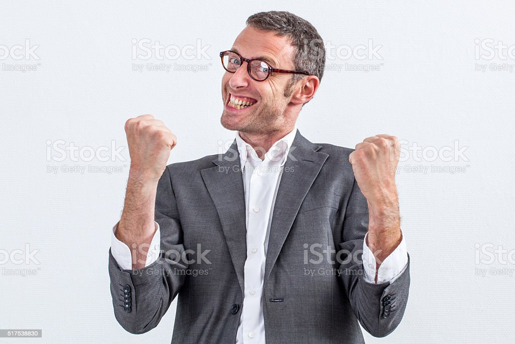bossy middle aged businessman with fighting body language stock photo