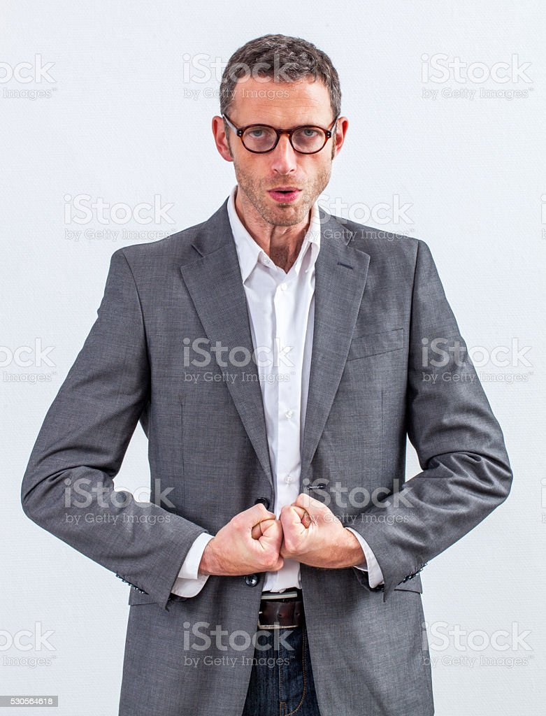 bossy middle aged manager ready to loose his temper stock photo