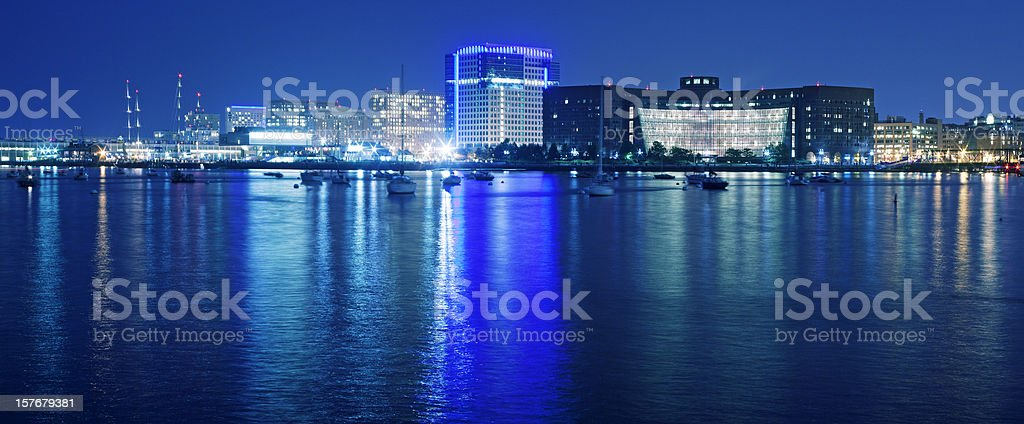 Bostom bay in the night royalty-free stock photo