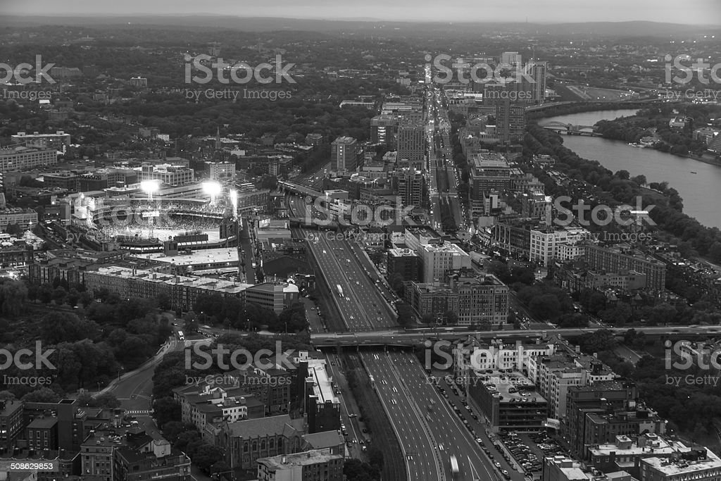 Boston aerial view  with cityscape and buildings. stock photo