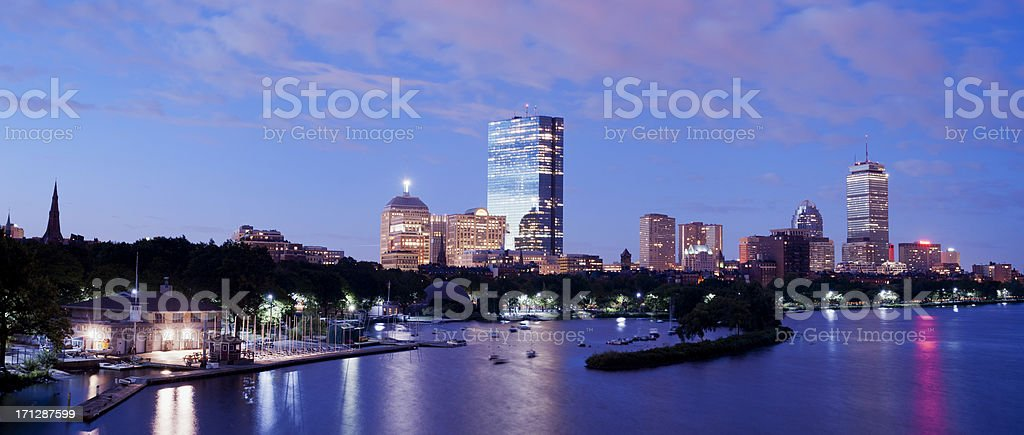 Boston and Charles River City Skyline at Night USA royalty-free stock photo