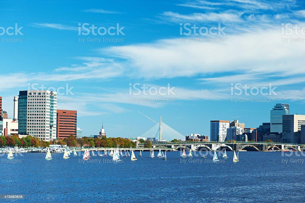 Boston and Charles river view from Harvard Bridge stock photo