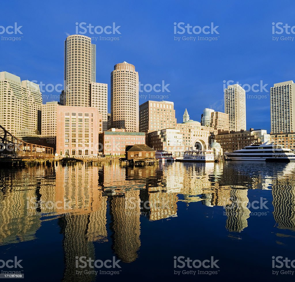 Boston and Rowes Wharf City Skyline in the USA royalty-free stock photo
