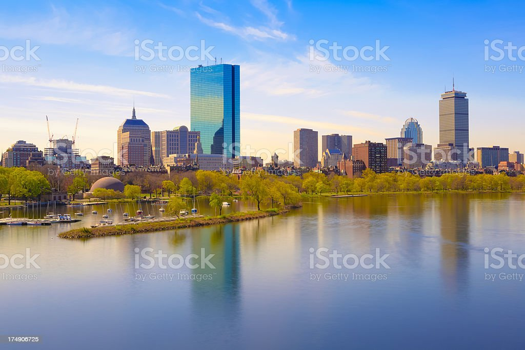 Boston Back Bay and Charles River royalty-free stock photo