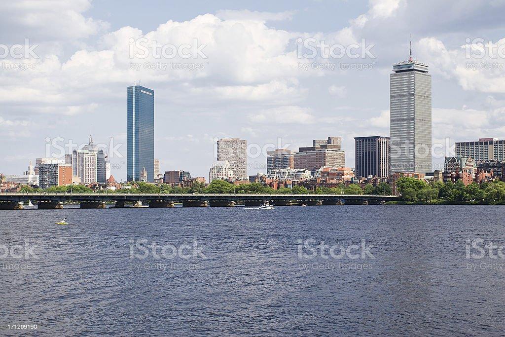 Boston Back Bay skyline across Charles River stock photo