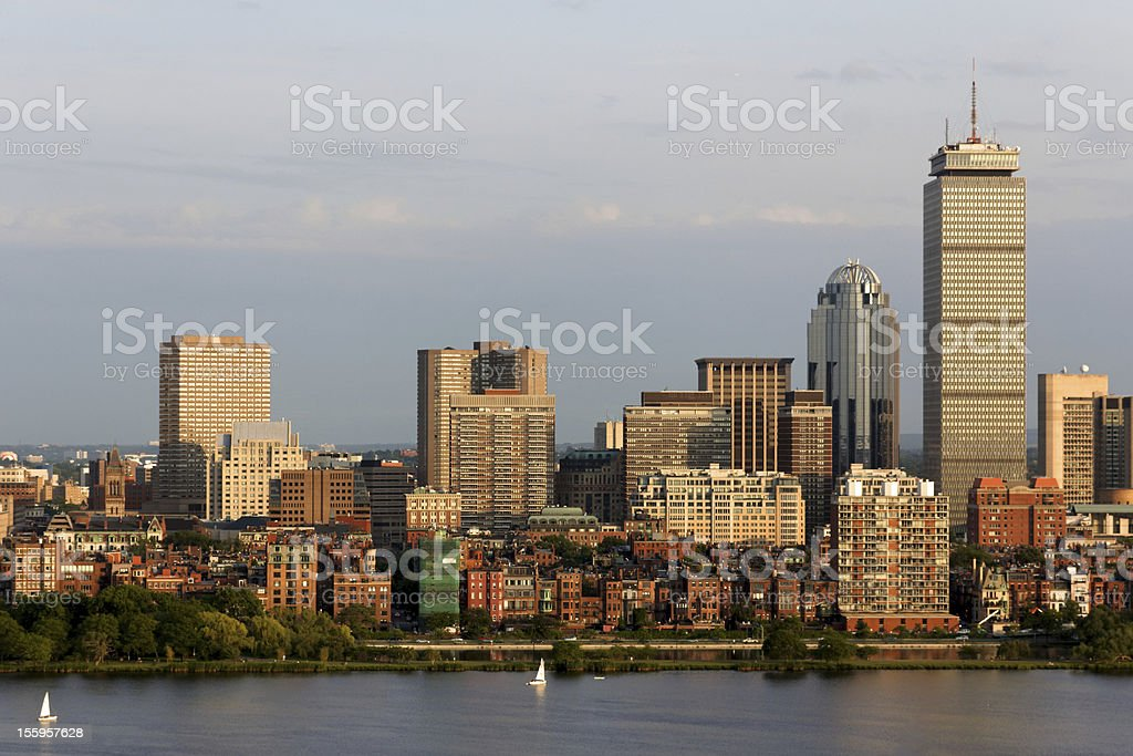 Boston Back Bay Skyline in the Afternoon Sun royalty-free stock photo