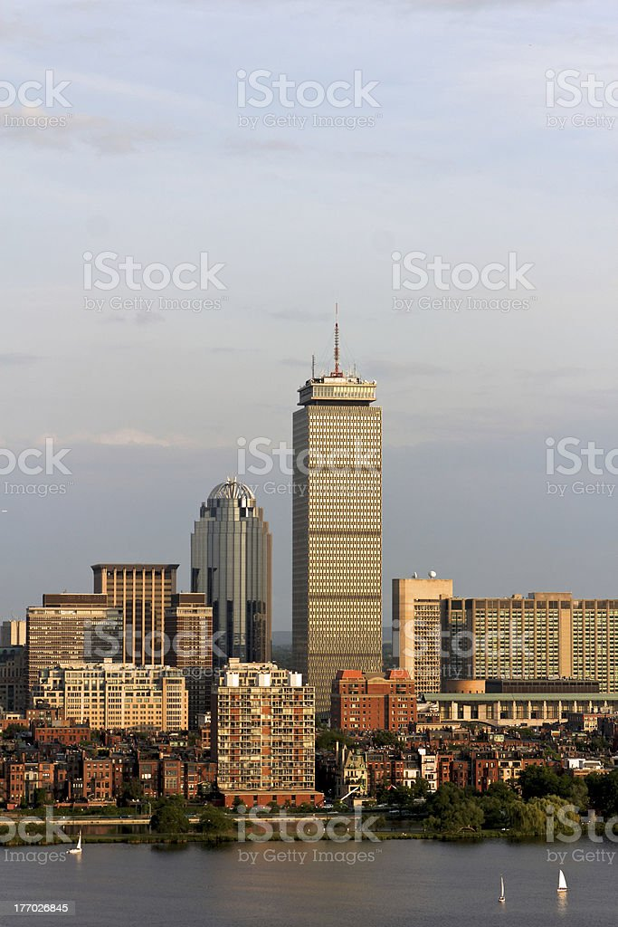 Boston Back Bay with the Prudential Tower royalty-free stock photo