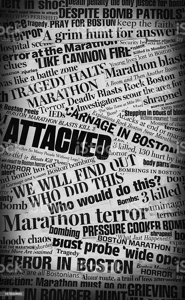Boston Bombing Newspaper Headline Collage stock photo